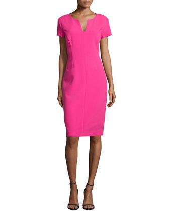 Leslie V-Neck Sheath Dress, Rubellite