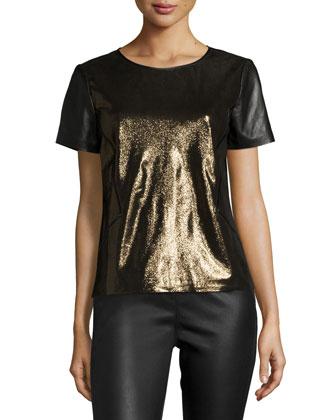 Lalaine Short-Sleeve Metallic-Leather Blouse, Gold