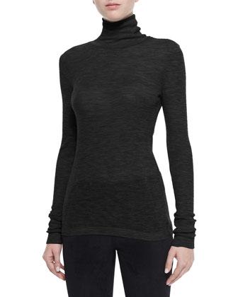 Satin Sleeveless Tank Dress & Sheer Wooly Ribbed Turtleneck
