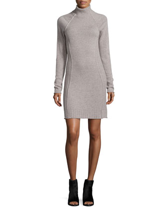 Cashmere Funnel-Neck Dress, Putty