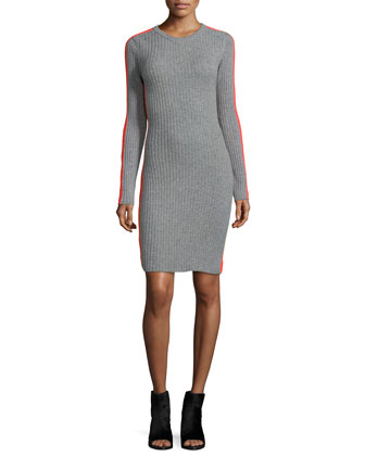Cashmere Long-Sleeve Ribbed Dress