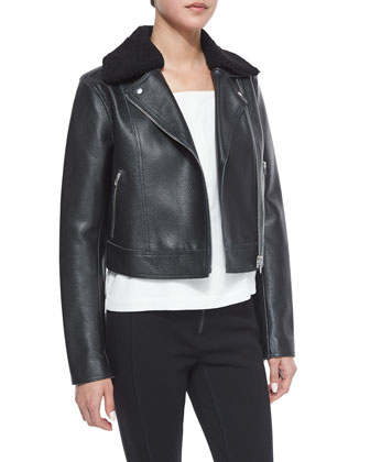 Leather Moto Jacket with Shearling Fur Collar, Square-Neck Silk Camisole ...