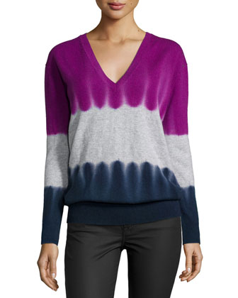 Cashmere V-Neck Tie-Dye Sweater