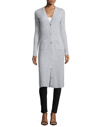 Cashmere Long-Sleeve Ribbed Maxi Cardigan, Fog