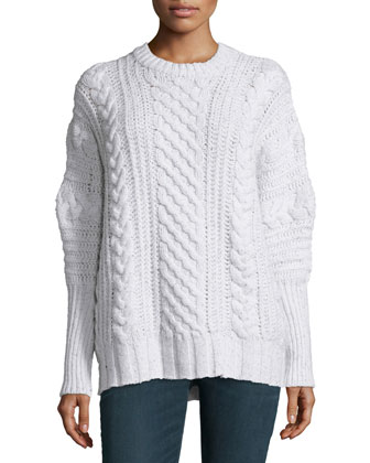 Cable-Knit Cashmere Crewneck Sweater