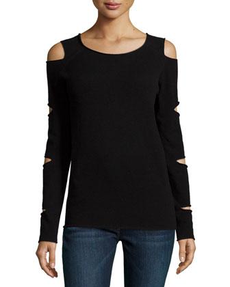 Slash-Sleeve Cashmere Pullover