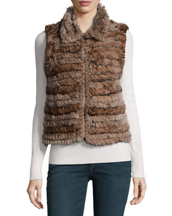 Rabbit Fur & Leather Vest, Dyed Goma Brown