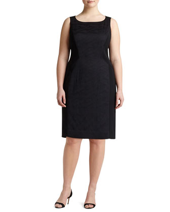 Kimberly Sleeveless Jacquard-Panel Sheath Dress, Women's