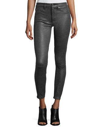 High Waist Ankle Skinny Crackle Leather-Like Jeans, Charcoal Gray Crackle