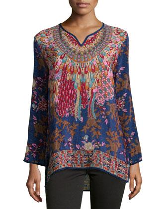 Simone Printed Silk Tunic, Navy, Women's