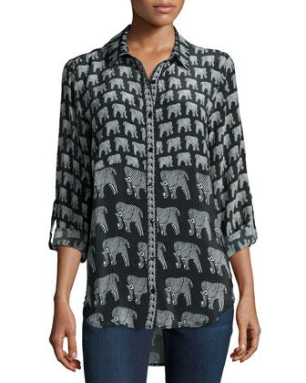 Evelyn Elephant-Print Silk Tunic