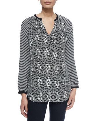 Lynn Printed Silk Tunic, Women's