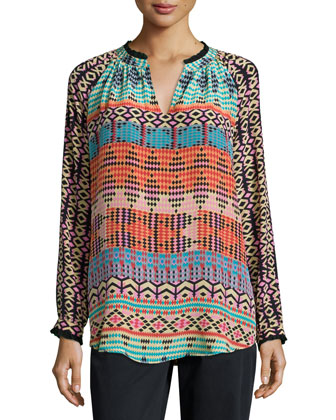 Lynn Printed Silk Tunic, Women's