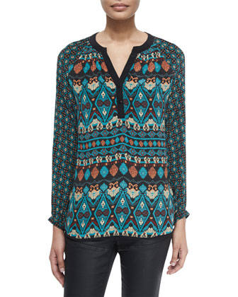 Jill Long-Sleeve Printed Tunic