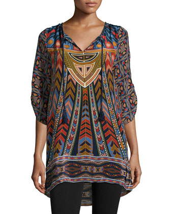 Nima Silk Printed Long Tunic