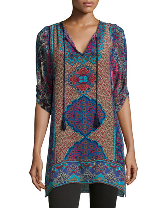 Keira Silk Printed Long Tunic, Navy, Women's