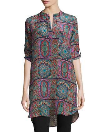 Lisa Printed Tunic/Dress, Fuchsia, Women's