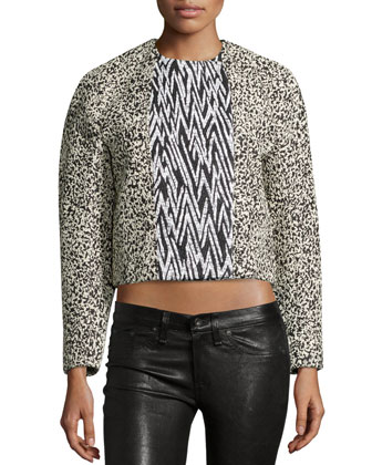 Double-Breasted Cropped Jacket, Black/Ecru Marble