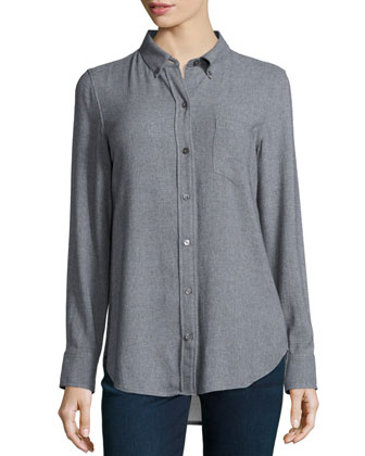 Simara Knit Button-Front Blouse