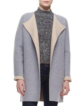 Nyma K. Two-Tone Felt Coat & Jodi B. Paella Half-Sleeve Sweater