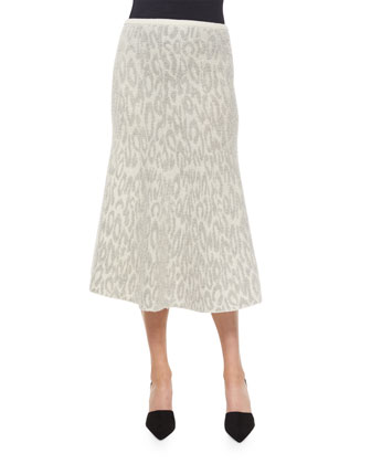 Marvita Leopard-Print Knit Midi Skirt
