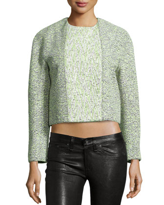 Double-Breasted Cropped Jacket, Gray/Celadon
