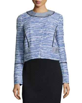 Long-Sleeve Asymmetric-Placket Jacket, Blue Combo