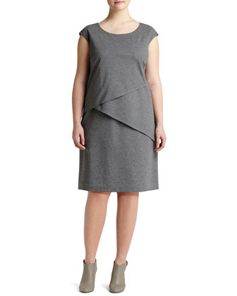Cap-Sleeve Layered Dress, Nickle