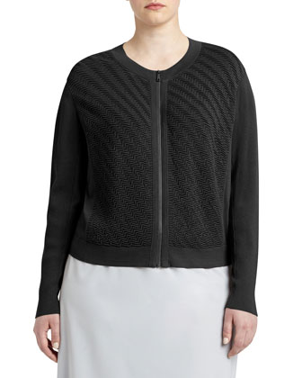 Wave-Stitch Zip-Front Cardigan, Women's