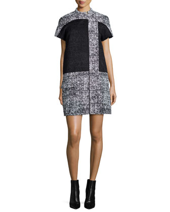 Short-Sleeve Colorblock Dress, Black/White/Ecru