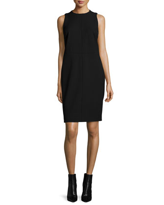 Sleeveless Jewel-Neck Dress, Black