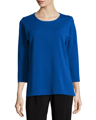 3/4-Sleeve Flat Wool Knit Top, Plus Size