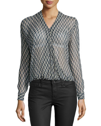 Gama Long-Sleeve Geometric-Print Top, Blue