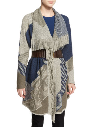 Blue Wave Cardigan W/ Fringe Trim