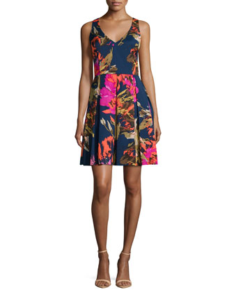 Sleeveless Floral-Print Party Dress