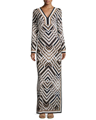 Long-Sleeve Geometric-Print Maxi Dress