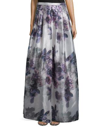 Off-The-Shoulder Structured Top & Floor-Length Floral-Print Skirt