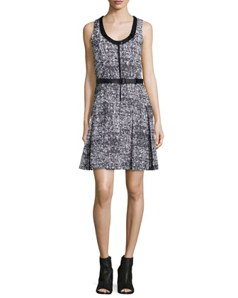 Sleeveless Belted Dress W/Contrast Trim, Black/White/Ecru