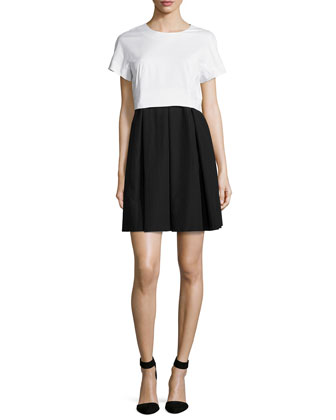 Short-Sleeve Colorblock Dress, White/Black