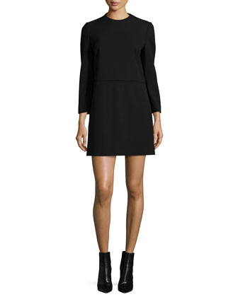 Long-Sleeve Shift Dress, Black