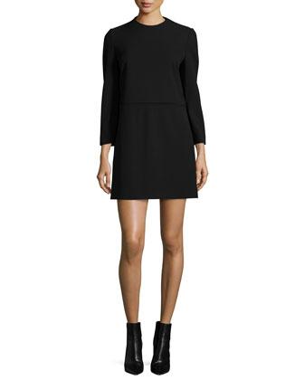 Long-Sleeve Shift Dress, Black