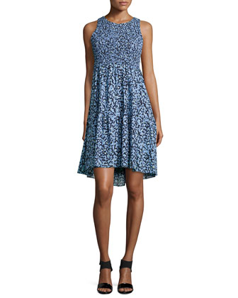 Sleeveless Jewel-Neck Smocked Dress, Blue/Black Twig