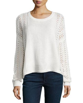 Long-Sleeve Pointelle Sweater, Vanilla