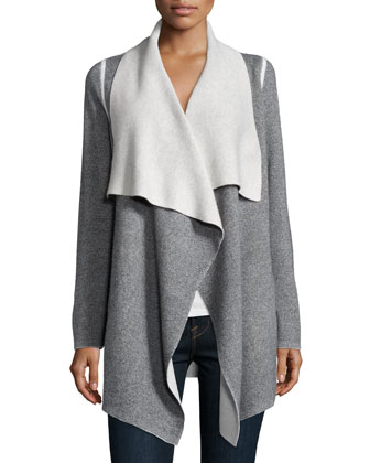 Long-Sleeve Skull Cardigan Coat, Gray