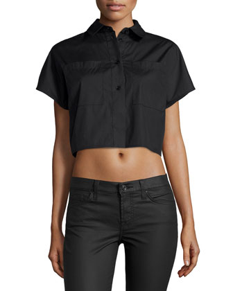 Short-Sleeve Button-Front Crop Top, Black