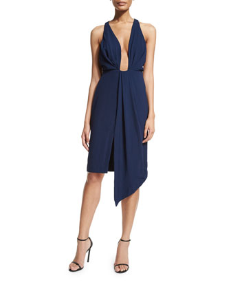 Sleeveless Plunge-Neck Dress, Navy