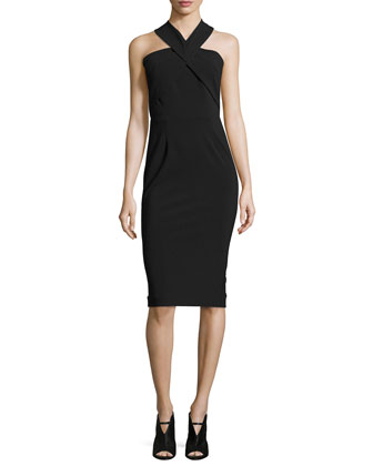 Sleeveless Bi-Stretch Curve Dress, Black