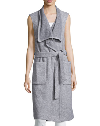 Sleeveless Wrap Long Vest, Salt & Pepper