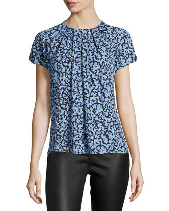 Short-Sleeve Pleated-Front Top, Blue/Black