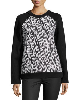 Long-Sleeve Zig-Zag Sweatshirt, Black